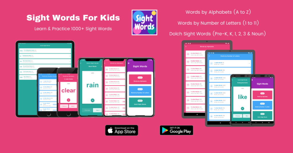 Sight Words For Kids App – iOS & Android English Educational App for Kids